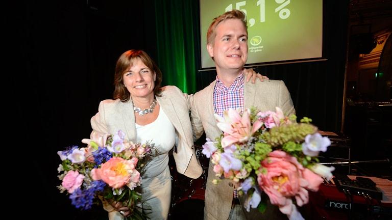 Isabella Lövin och Gustav Fridolin. Foto Maja Suslin/TT.