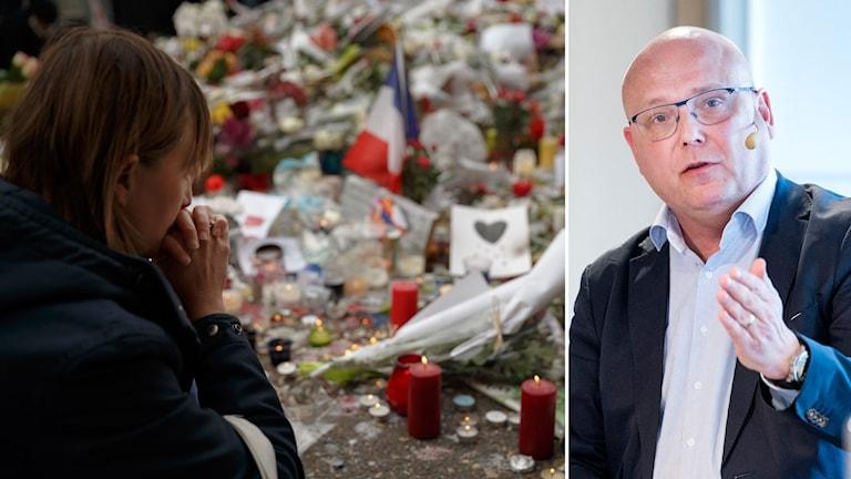 Tvådelad bild: En kvinna ber för terroroffer i Paris, Magnus Ranstorp står och pratar och pekar med handen