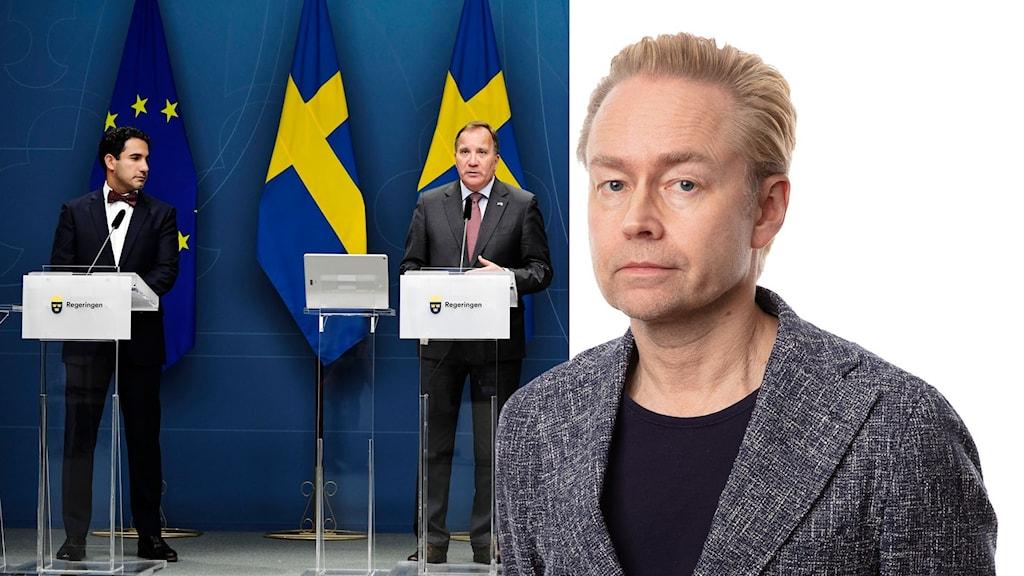 Ardalan Shekarabi, Stefan Löfven och en större bild på Fredrik Furtenbach.