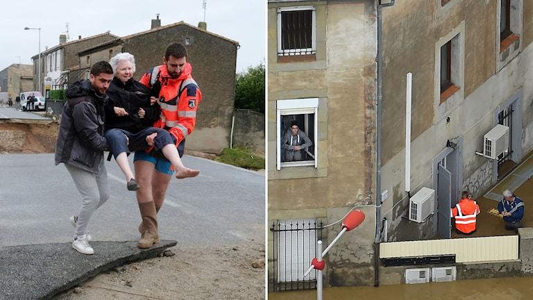 Räddningsmanskap bär en äldre kvinna och andra vadar utanför ett hus.