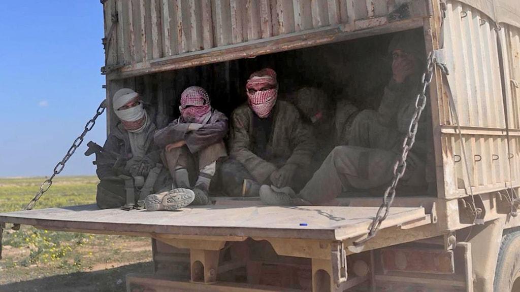 IS-krigare och deras familjer inne i en lastbil i Syriens norra provins Deir Ezzor