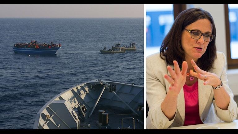 Bildsplit: Båtflyktingar utanför Italiens kust och Cecilia Malmström. Foto: AP samt Per Larsson/TT.