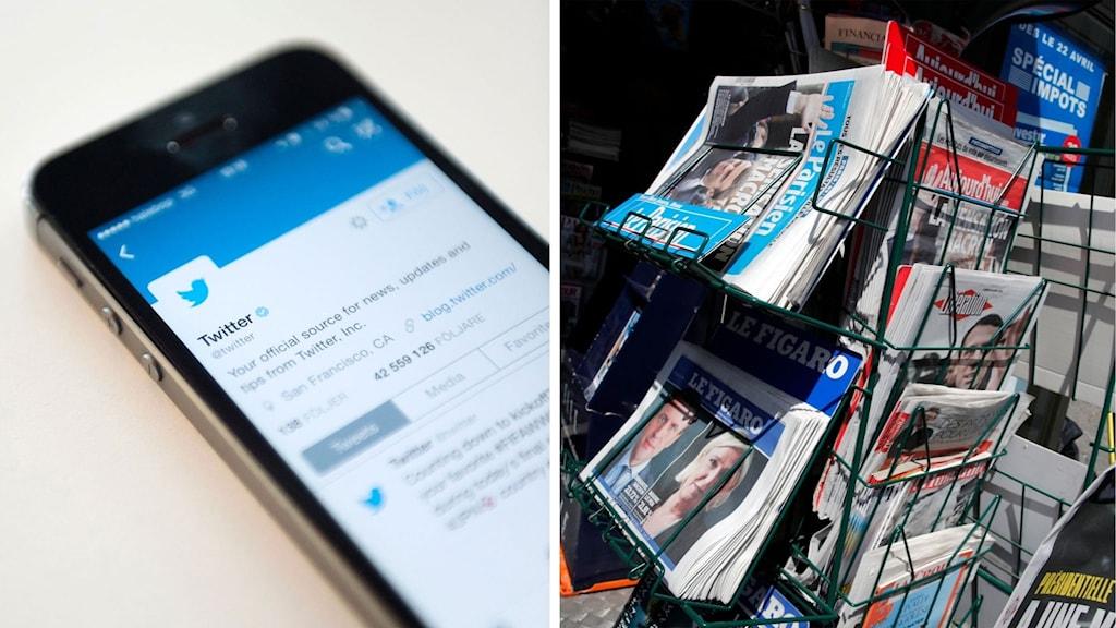 Delad bild:Twitter och  tidningsställ i frankrike
