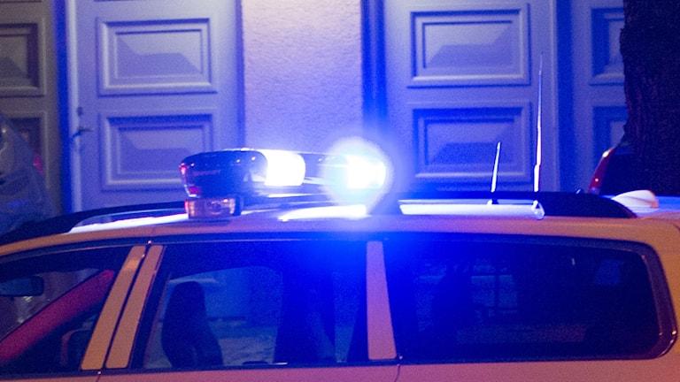 Drygt tio polisbilar körde i karavan längs Avenyn i Göteborg. Foto: TT.