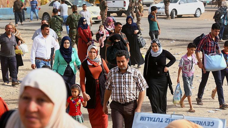 Människor flyr i Irak. Foto: TT.