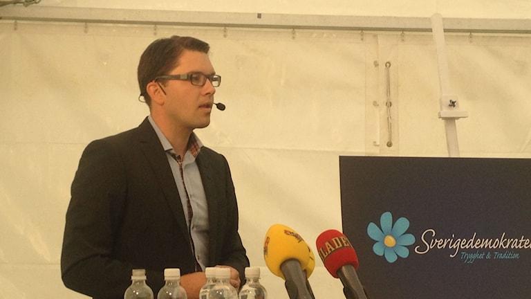 SDs partiledare Jimmy Åkesson i Almedalen 2014
