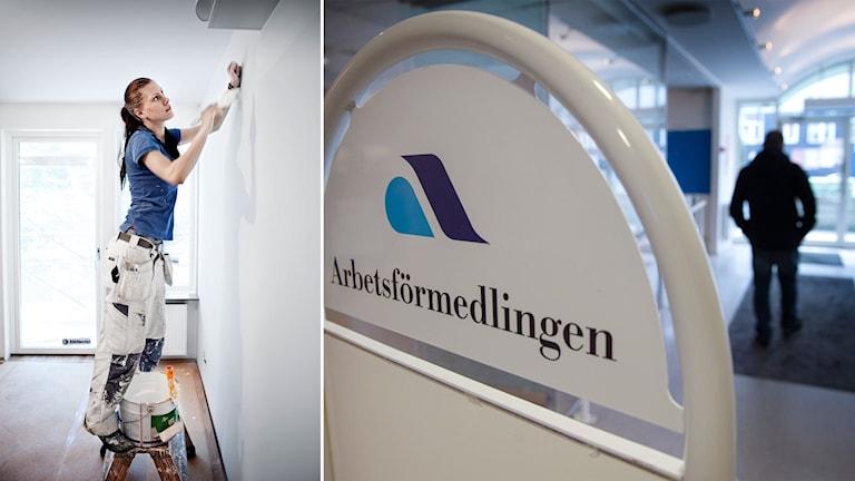 Bild på kvinna som målar och en bild på person som lämnar Arbetsförmedlingen.