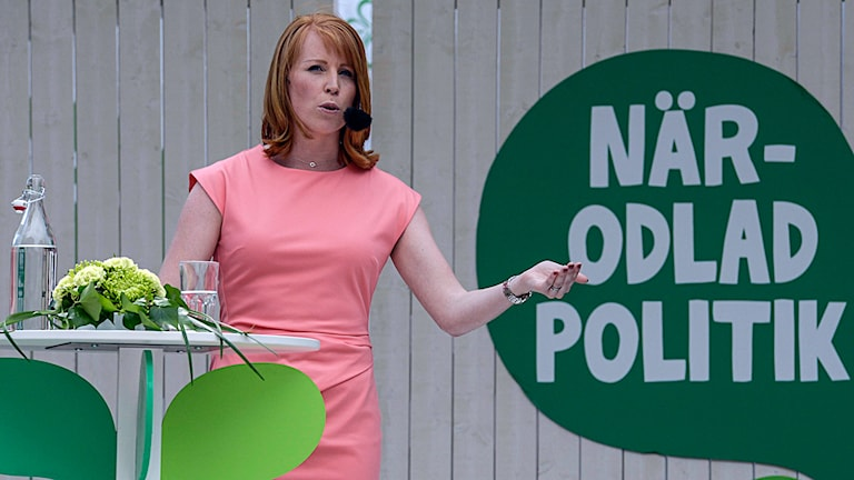 Annie Lööf håller tal i Almedalen. Foto: Janerik Henriksson/TT.