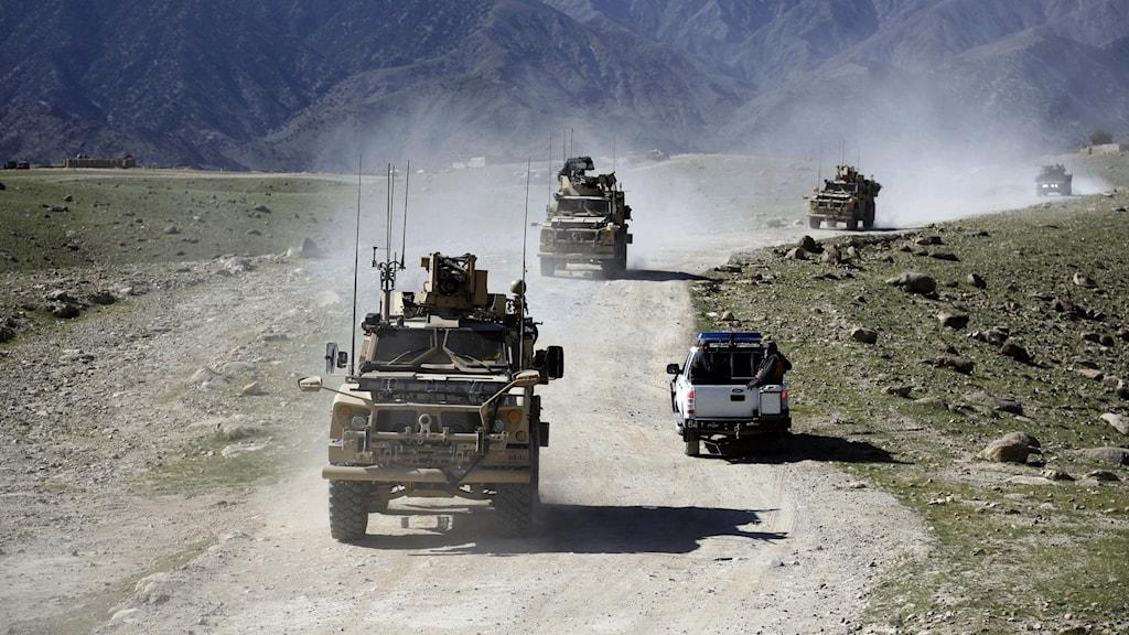 En karavan av militärbilar kör på en grusväg.