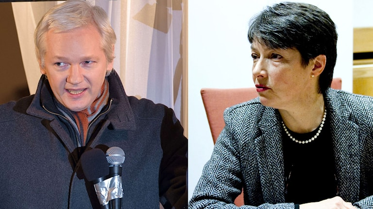 Överåklagare Marianne Ny till höger. Till vänster Julian Assange. Foto: Leon Neal/AFP och Adam Ihse/TT