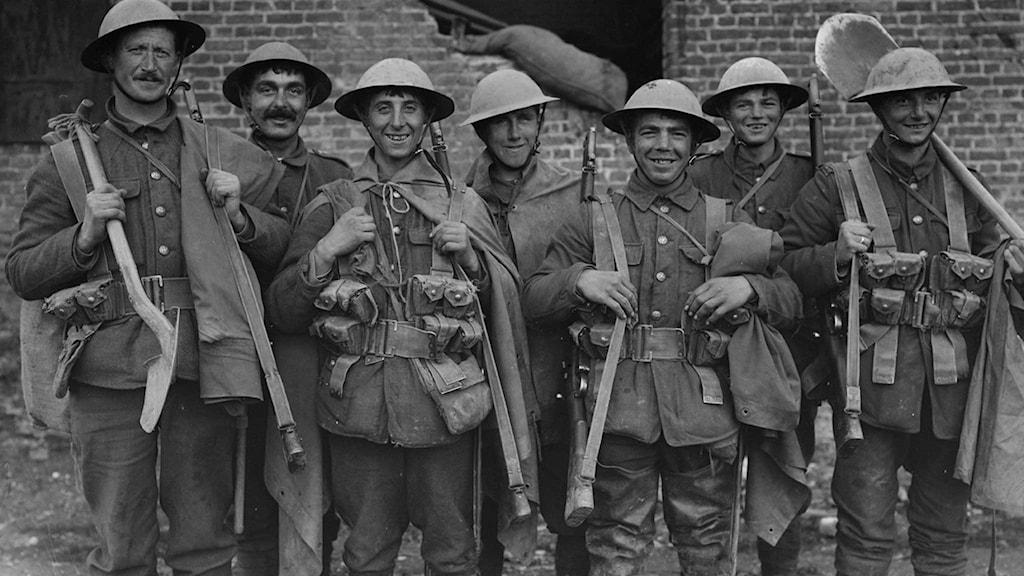 Brittiska soldater i belgiska Fleurbaix under första världskriget.