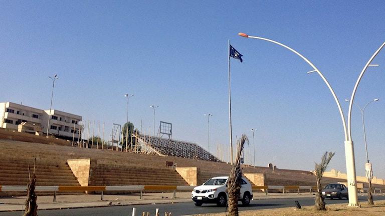 Islamistgruppen Isis svarta flagga vajar i Mosul. Foto: TT.