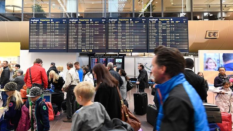 Passagerare på Arlanda flygplats. Foto: Mikael Fritzon/TT.