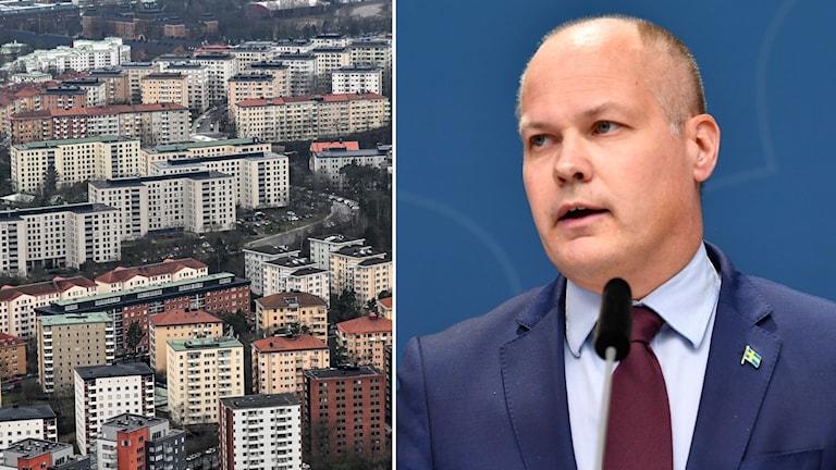 Bildsplit på genrebild på bostadshus och justitieminister Morgan Johansson (S).