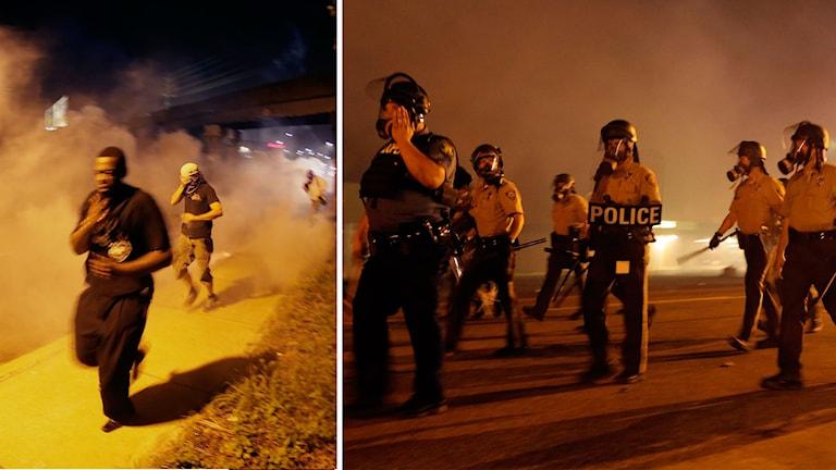 Demonstranter springer från polisens tårgas i Ferguson på söndagen. Foto: AP/TT