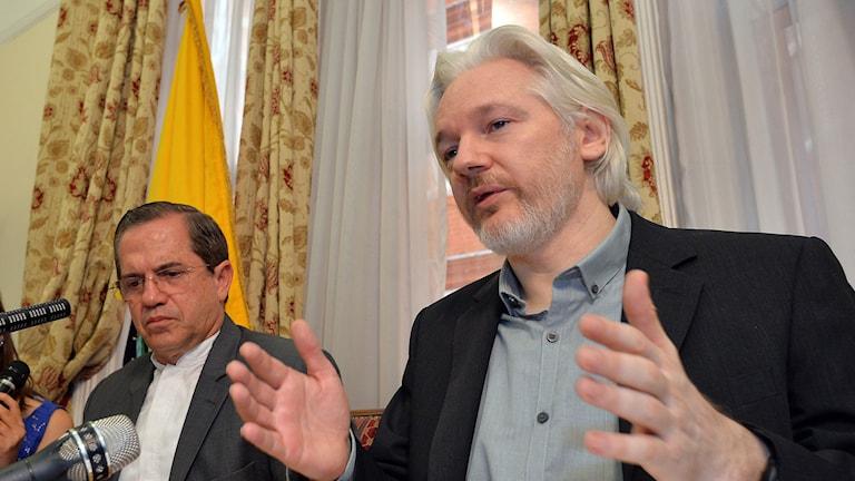 Wikileaks grundare Julian Assange höll i dag en presskonferens i London. Foto:  John Stillwell/TT.