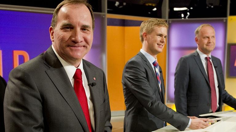 Statsminister Stefan Löfven (S), Gustav Fridolin (MP), och Jonas Sjöstedt (V).