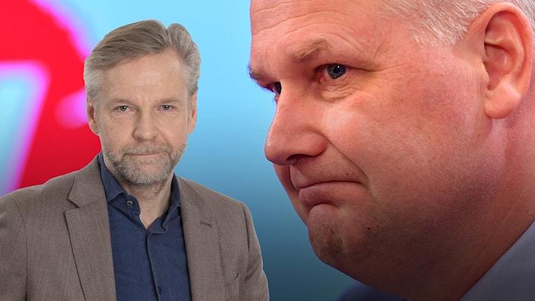 Montage med Tomas Ramberg och Vänsterpartiets ledare Jonas Sjöstedt,