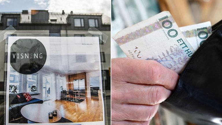 Annons om en bostad som är till salu. Man håller i plånbok med pengar. Foto: TT.