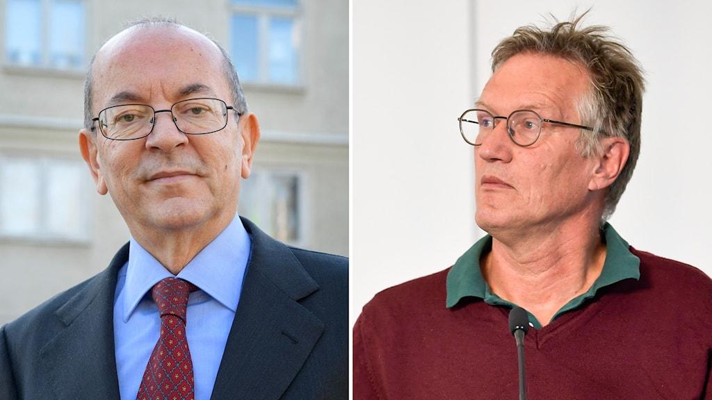 Italiens Sverigeambassadör Mario Cospito och Sveriges statsepidemiolog Anders Tegnell.