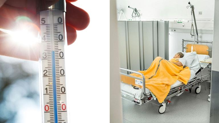 Termometer som visar på 34 grader varmt, till höger patient ligger i en sjukhussäng.