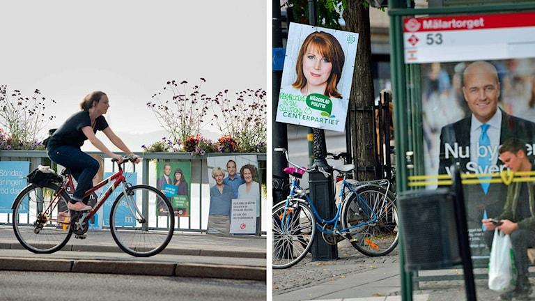 En kvinna cyklar förbi några valaffischer i centrala Stockholm. En man sitter i en busskur framför flera valaffischer. Foto: Jessica Gow/Henrik Montgomery/TT. Montage: Sveriges Radio.