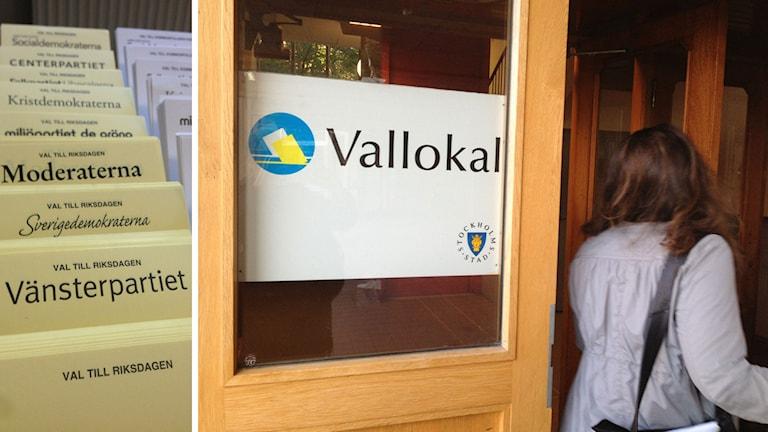 Valsedlar i en vallokal. En kvinna går in i vallokalen på Eriksdalsskolan på Södermalm i Stockholm. Foto: Henrika Åkerman/Sveriges Radio.