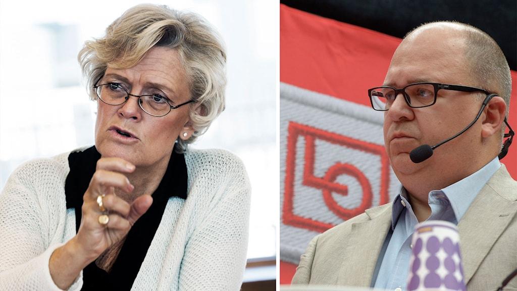 Svenskt näringsliv vd Carola Lemne och  LO:s ordförande Karl-Petter Thorwaldsson. Foto: Janerik Henriksson / TT