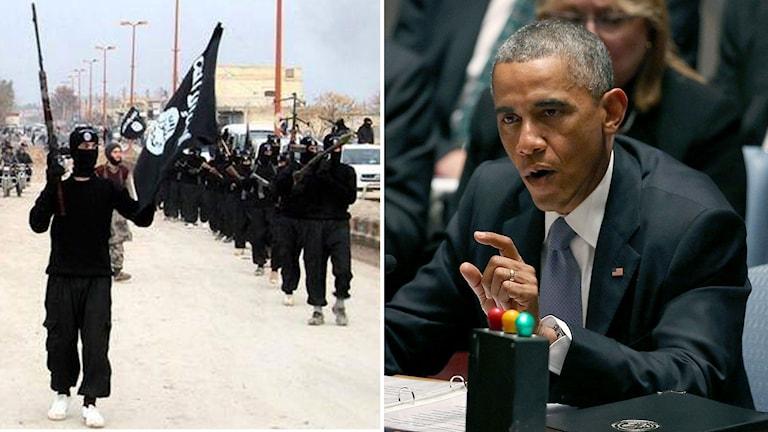 Arkivbild från januari 2014 från en militant webbsida som visar Isis-anhängare i Raqqa, Syrien. Till höger USA:s president Barack Obama som under onsdgagen leder FN:s säkerhetsråd. Foto: Spencer Platt/Getty Images/AFP och AP/TT