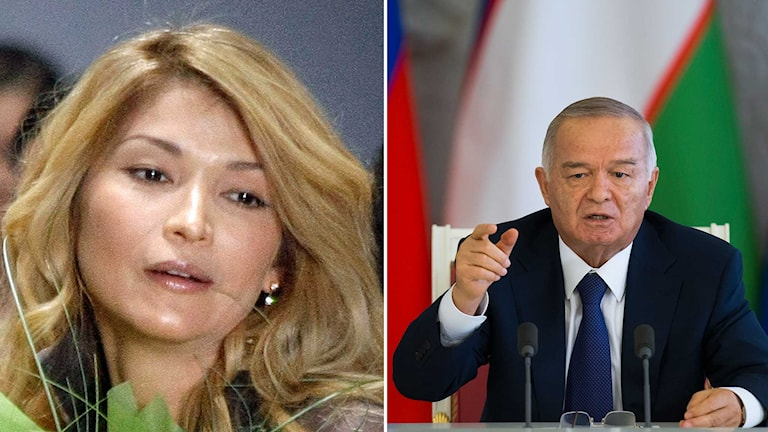 Uzbekistans president Islam Karimov och hans dotter Gulnara Karimova. Foto: Mikhail Metzel/Alexander Zemlianichenko/TT. Montage: Sveriges Radio.