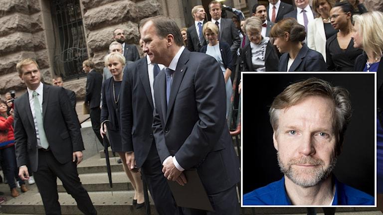 Nya regering och Tomas Ramberg (Infälld). Foto: TT samt Sveriges Radio.