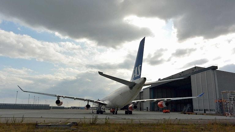 Ett av SAS flygplan står parkerat på Kastrups flygplats i Köpenhamn. Foto: Johan Nilsson/TT.