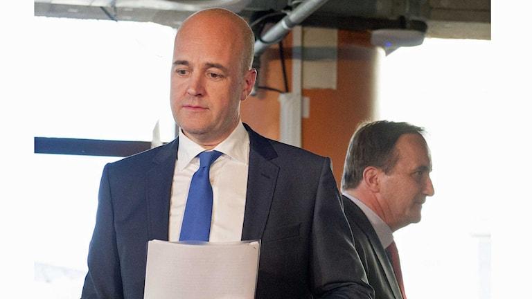 Moderatledaren Fredrik Reinfeldt och statsminister Stefan Löfven, Socialdemokraterna. Foto: Jessica Gow/TT.