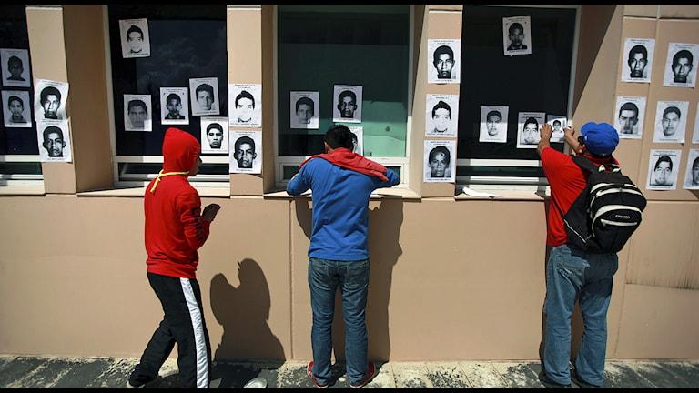 Bilder av de 43 försvunna eleverna. Foto: AP Photo / Felix Marquez / TT.