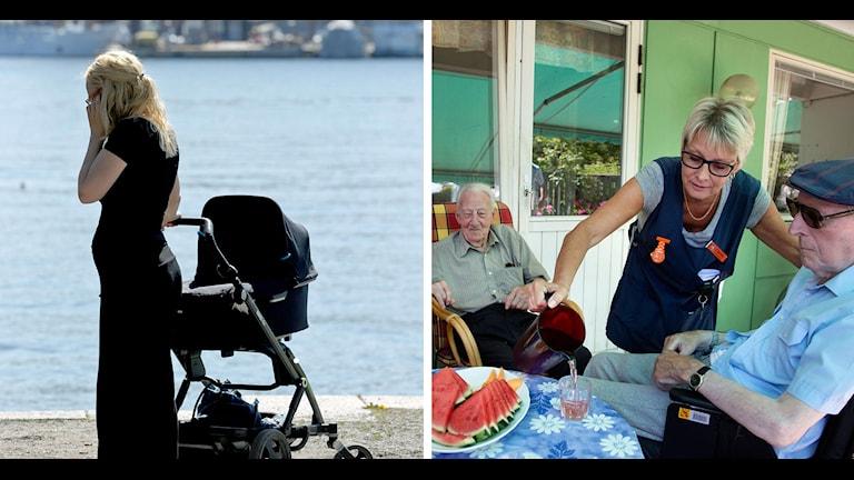 En kvinna med barnvagn står vid en kajkant. En anställd på ett äldreboende häller upp dricka till en man i rullstol. Foto: Janerik Henriksson/Stig-Åke Jönsson/TT.