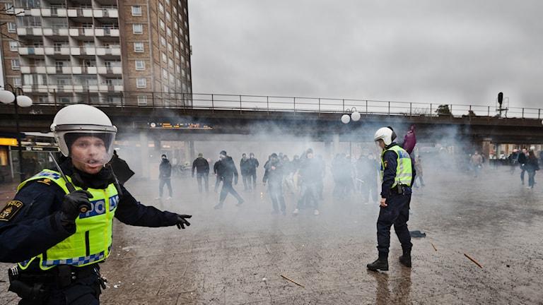 Demonstration i Kärrtorp. Foto: TT
