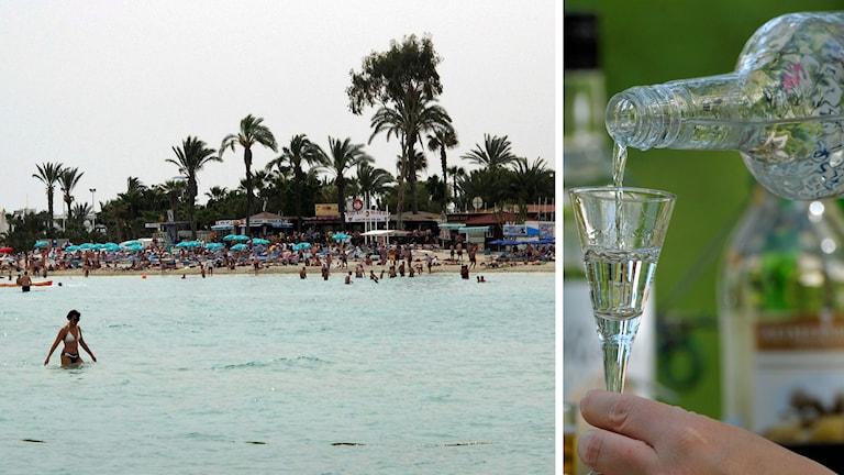 Turister på en strand i Ayia Napa på Cypern. En person häller upp en nubbe i ett snapsglas. Foto: Patrick Baz/Fredrik Sandberg/TT. Montage: Sveriges Radio.