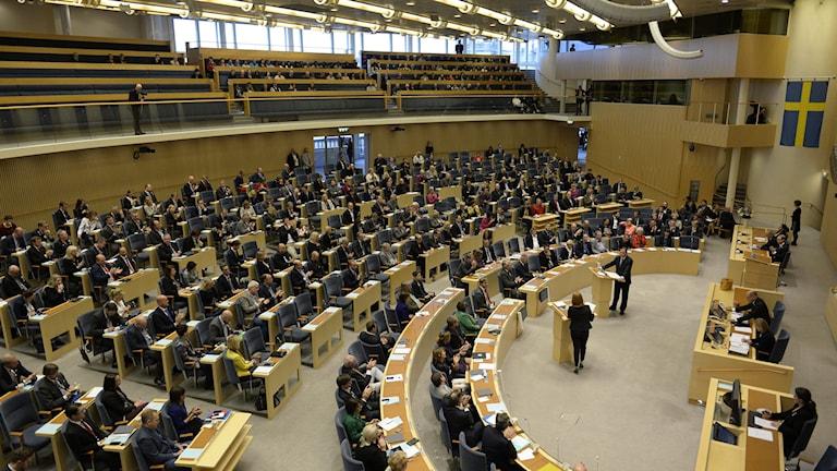 I dag debatteras regeringens budget i riksdagen. Foto: Jessica Gow/TT.