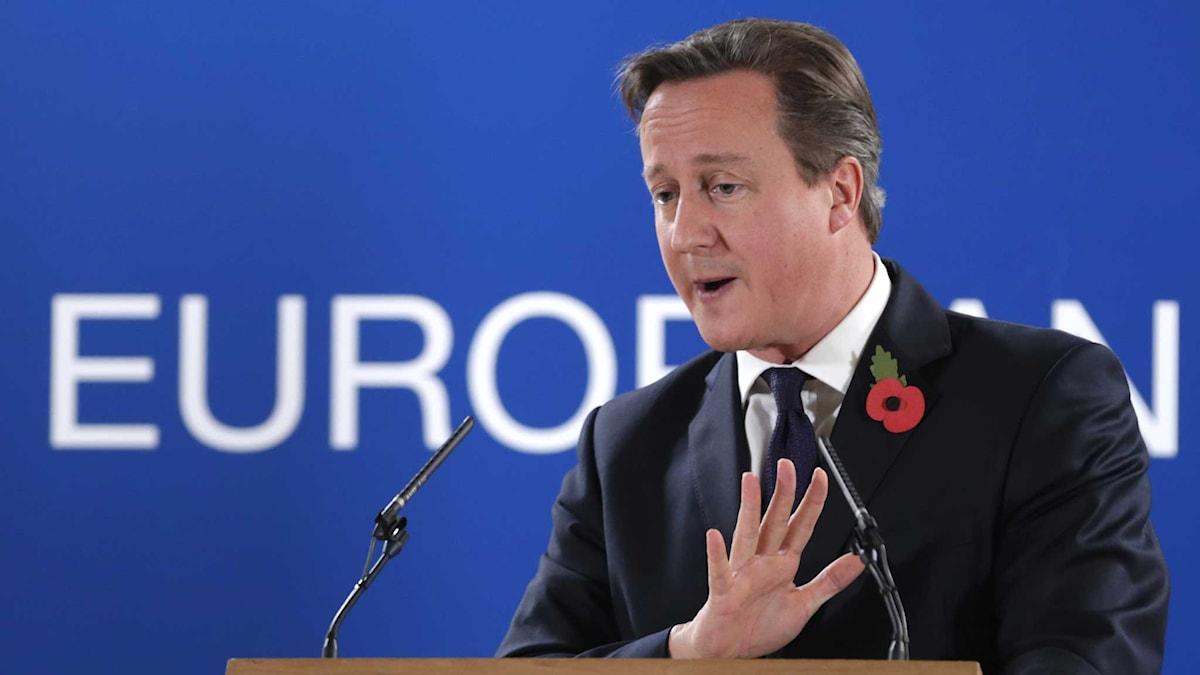 David Cameron vid presskonferensen i Bryssel. Foto: TT.