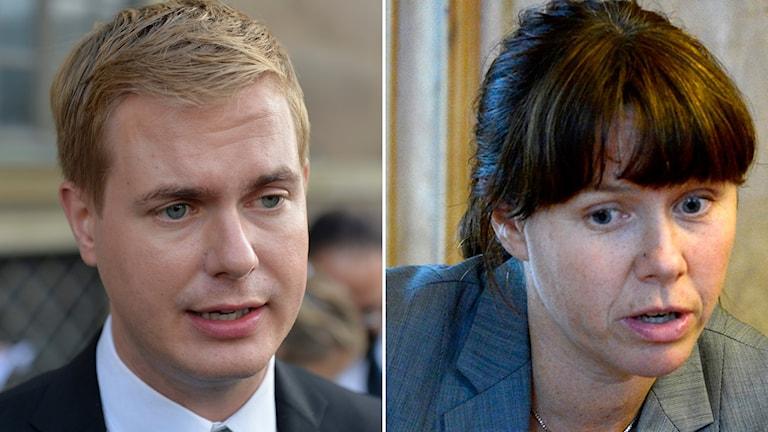 Gustav Fridolin och Åsa Romson, Miljöpartiets två språkrör. Foto: TT