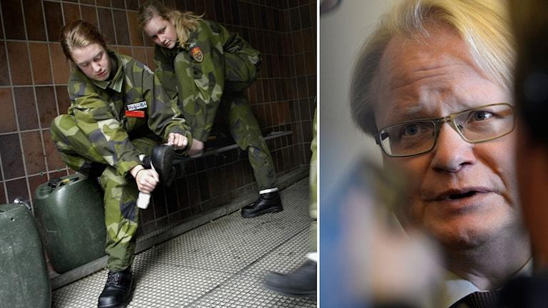 Värnplikt ska utredas, tycker Peter Hultqvist (S). Foto: Malin Hoelstad, Pontus Lundahl/TT.