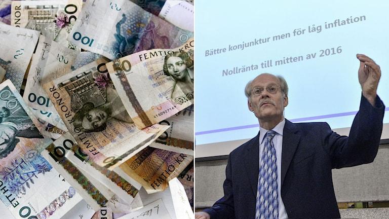 Riksbankens chef Stefan Ingves vid sida av svenska sedlar. Foto: TT. Montage. Sveriges Radio.