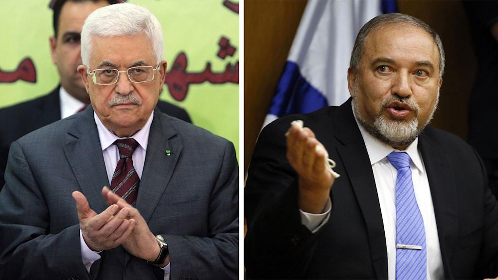 Den palestinska presidenten Mahmud Abbas och Israels utrikesminister Avigdor Lieberman. Foto: TT
