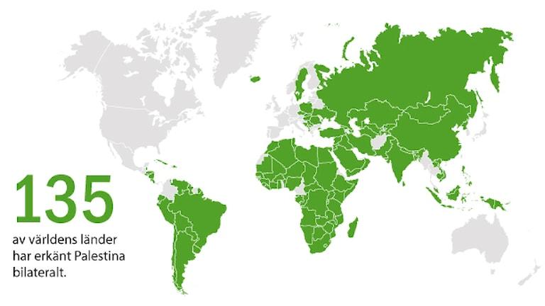 Länder som erkanner palestina. Grafik: Liv Widell