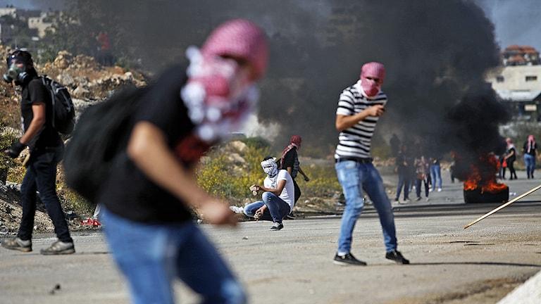 Palestinier som kastar sten mot israeliska trupper under sammandrabbningar vid  al-Aqsamoskén i Jerusalem. Foto: AP Photo / Majdi Mohammed / TT.