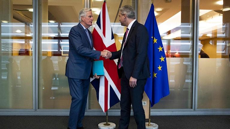 EU:s chefsförhandlare Michel Barnier och Storbritanniens dito Stephen Barclay.