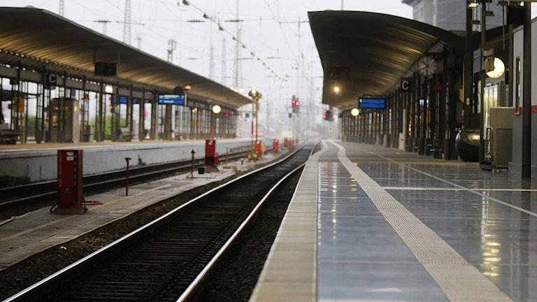 En tom tågperrong i Tyskland. Foto: Michael Probst/TT.