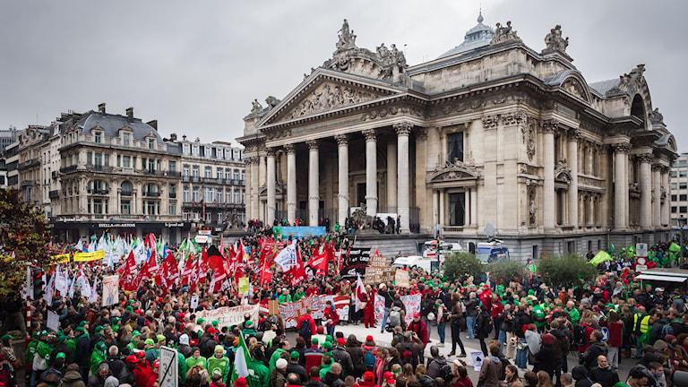 Demonstrantionerna i Bryssel för en månad sedan har beskrivits som de största sedan andra världskriget. Foto: TT