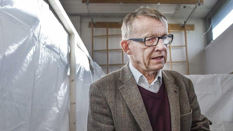 Hans Rosling vid en kurs för ebolaarbetare. Foto: Tomas Oneborg/SvD/TT