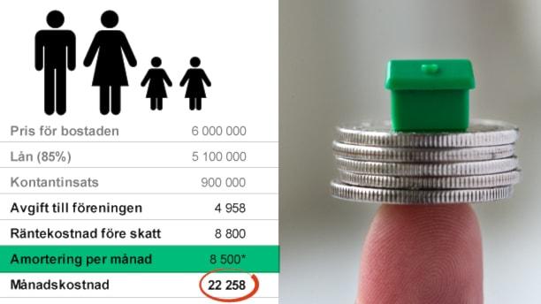 Pengarna vi betalar av på lån kallas för amortering. Grafik: Liv Widell/Sveriges Radio. Bild: TT.